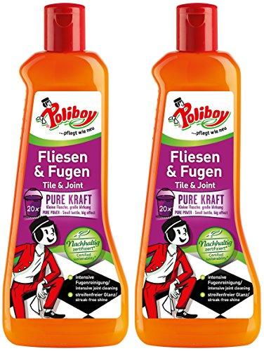 Poliboy - Fliesen- und Fugen - für die kraftvolle Reinigung aller gefliesten Oberflächen - für Innen und Außen - Bodenreinigung - 2er Pack - 2x500ml (1 Liter) - Made in Germany