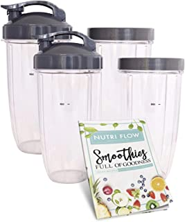 FOUR (4) Cups for NUTRIBULLET 32 oz. Tall with Flip Top & Lip Ring + EXCLUSIVE RECIPE Booklet by Nutri Flow - Colossal NutriBullet Cup for Nutri-Bullet