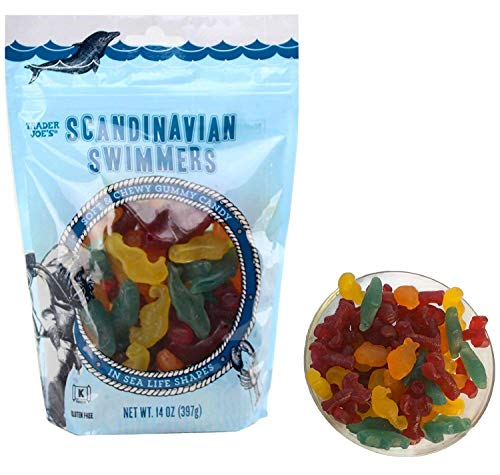 Trader Joe's Scandinavian Swimmers Gummy Candy Fish and Sea Life Shapes, 14 oz Gluten Free