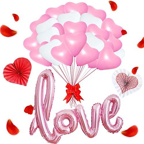 Lbsel 'Love Globo de Aluminio y 50 Piezas Globos de látex de corazón de 12 'para Fiesta de cumpleaños Celebraciones del Festival de Bodas Decoraciones (Blanco y Rosa)