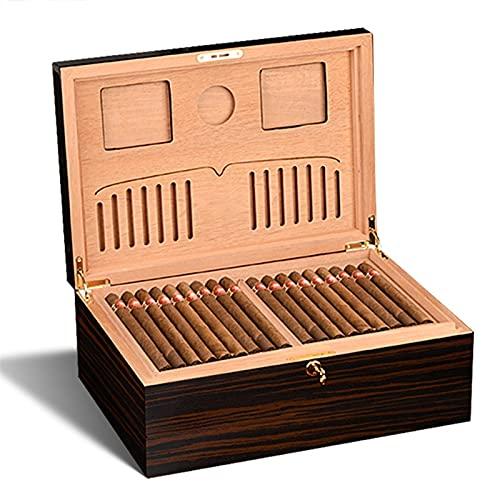Cigars Cave À Cigares Armoire Hydratante De Vernis De Cuisson Piano en Bois De Cèdre Étui À Cigarettes Double Couche De Grande Capacité Stockage De Grande Capacité (Size : 40 * 27.5 * 15.7cm)