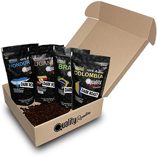 Café en grano natural. Tueste Oscuro. 100% Arabica. Pack para regalo y degustación. 4 orígenes: Colombia, Uganda, Brasil, Honduras. 4x250g. Tostado artesanal.
