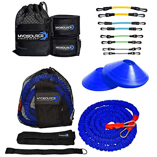 Kinetic Bands 360 Speed Agility Training Kit - Leg Resistance Bands, Bungee Speed Cord, Quick Feet Training Cones (Waist Size: Small (31 inches or Less) - Yellow, Lt Blue, Lt Green, Grey Bands)