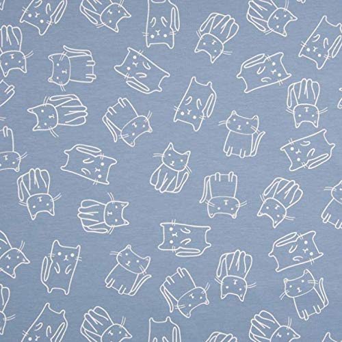 0,5m Jersey Katzen blau Motivgröße ca. 5cm 95% Baumwolle 5% Elasthan Meterware 140cm breit