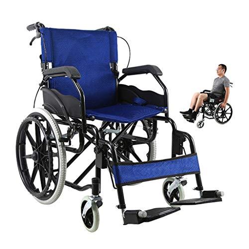 WRJY Rollstuhl Klappbarer Rollstuhl, ältere behinderte Kinder mit klappbaren Rollstühlen, ultraleichte Rollstühle, behinderte Rollstühle, manuelle tragbare Rollstühle, blau
