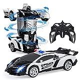 Vubkkty Transformers Spielzeug, Ferngesteuertes Auto für Kinder 6 7 8 9 10, 2 in 1 Fernbedienung Transform Roboter Spielzeug, Polizeiauto Spielzeuggeschenk für Jungen