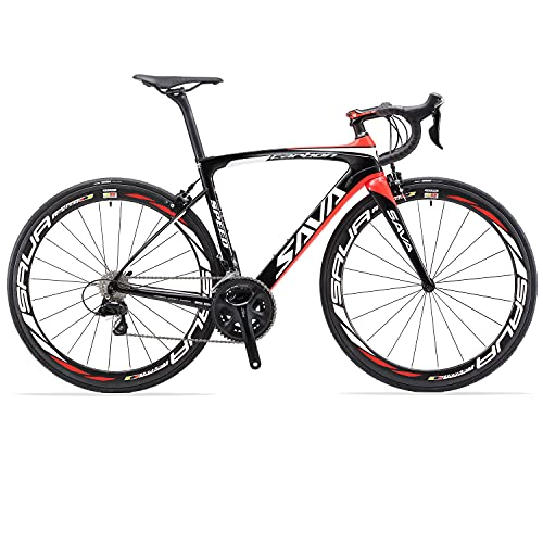 SAVADECK HERD6.0 700C Bicicleta de Carretera de Fibra de Carbono Shimano 105 R7000 22S Sistema de transmisión Michelin Neumático Fizi:k Sillín (Negro Rojo, 52)