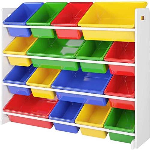Organizador de almacenamiento de juguetes de madera para niños, zapatero de pie, organizador de zapatos, ahorro de espacio, con 16 cubos de plástico, XL, verde/azul/rojo/amarillo