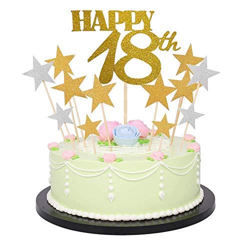 Dusenly Decoración para tarta de cumpleaños con letras brillantes,  números dorados y brillantes para tarta de cumpleaños (41 unidades) 18 # 80 (18 o estrella)