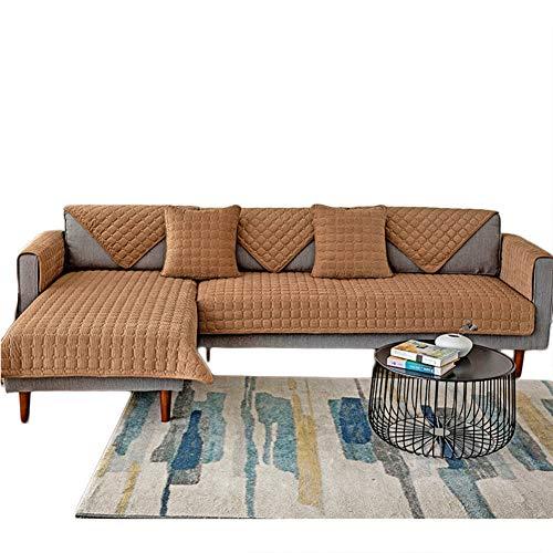 Zu L Shape Couch Loveseat Armloses Sofa,Universal Plüsch Sofa Abdeckung,Sanft rutschfest Dick Gesteppte Sektional Couch Abdeckungen-Braun 70x150cm(28x59inch)