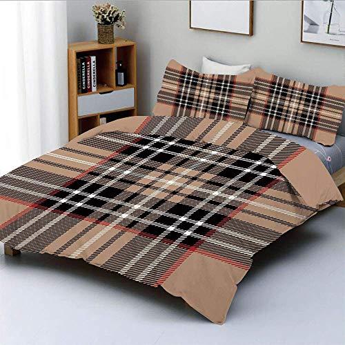 Conjunto de funda nórdica, tartán clásico en diseño de estilo británico Adorno geométrico Decorativo a rayas Conjunto de ropa de cama de 3 piezas con funda de almohada 2, marrón pálido, naranja, blanc