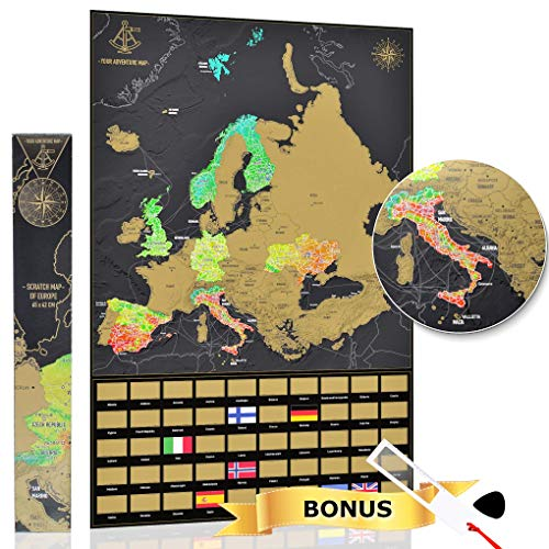 YOUR ADVENTURE Mapa Europa rascar 65 x 42 cm – Regalo