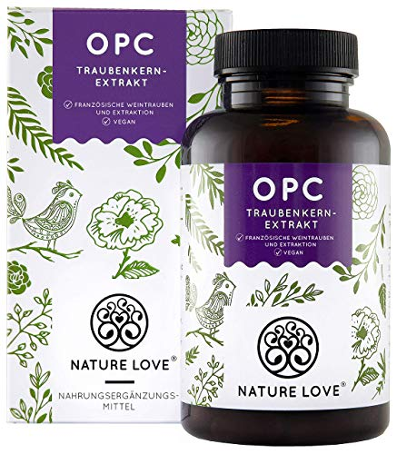 NATURE LOVE® OPC Traubenkernextrakt - Premium: aus Original französischen Trauben - 800mg Extrakt je Tagesdosis - Laborgeprüft, hochdosiert, vegan, hergest. in Deutschland