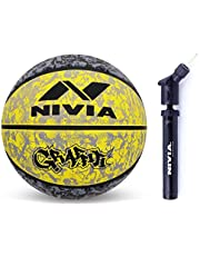 Nivia 1951BY Rubber Nivia Graffiti Basketball, Size 7 (Black/Yellow)