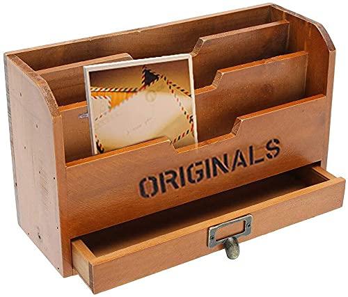 Caja organizadora de archivos, de madera maciza, con cajones de almacenamiento, caja de almacenamiento para documentos