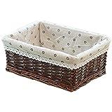 Honton Cestas de almacenamiento de mimbre, cesta de almacenamiento tejida a mano, cesta de almacenamiento de ratán grande Capcity multifunción para el dormitorio del hogar, 1 unidad