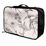 Bolsa de viaje plegable con forma de cubo de moda, ligera, de gran capacidad, bolsa de equipaje portátil (dibujada a mano, diseño de flores sin costuras), 38,1 x 15,2 x 27,9 cm