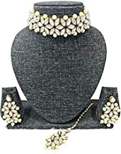 Manath Bridal Gold Plated Kundan Neckless Set for Women and Girls