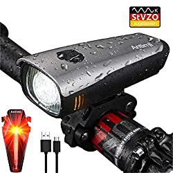 Antimi LED Bike Light Set, StVZO Approved USB Rechargeable Bike Lights Set with IPX5 Waterproof Front Light & Taillights, Bike Lamp with Samsung 2600mAh Li-ion Battery