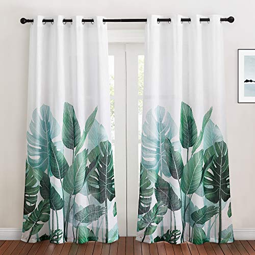 KGORGE Sheer Curtains 84 inch Length - Linen Textured Semi Sheer Curtains Tropical Leaves Pattern Half Translucent Window Drapes for Bedroom Living Room French Door, 2 Panels, W 50 x L 84
