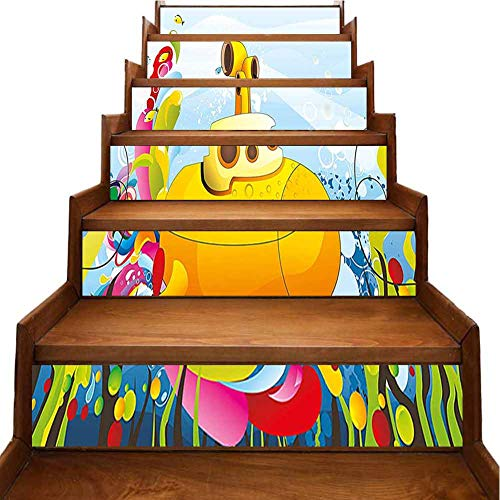 3D Stair Riser Stickers Vector Illustration with Colorful Background Fishes Bubbles and Sea Plants Stair Riser backsplash for Kitchen or Bathroom, W39.3 x H7 inch