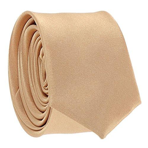 Cravate Fine Beige cuivré - Cravate Homme Coupe Slim Moderne - 5cm à la Pointe - Couleur Unie - Accessoire Chemise pour Mariage, Cérémonie