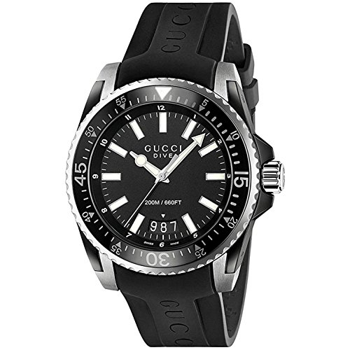 Gucci Dive XL Herren-Armbanduhr Quarz 45mm Black Rubber Schwarz ya136204