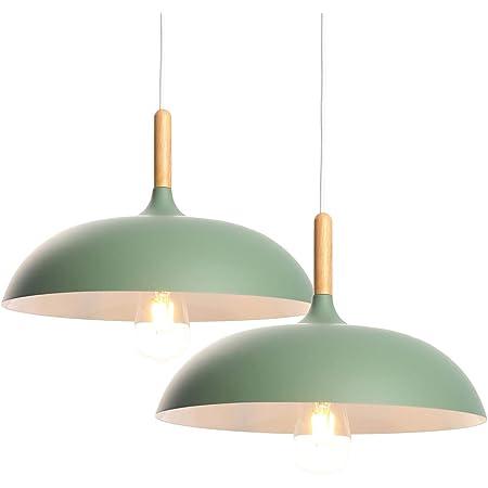 2PC E27 Moderne Suspension Luminaire Plafonnier Lustre Eclairage de Plafond Industrielle Plafonnier Lustre Suspensions Lumiere Lustre Culot Abat-jour(Vert)