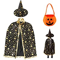 Sawaruita Halloween Costume Wizard Cape Witch Cloak with Hat