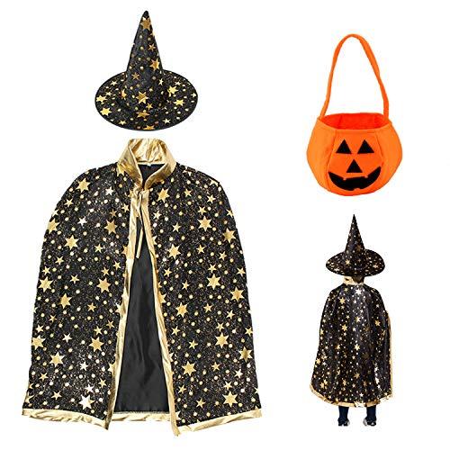 Disfraz de Halloween para niños, con bolsa de caramelos, capa de bruja con sombrero, abrigo de mago con accesorios para niños y niñas, cosplay, color negro
