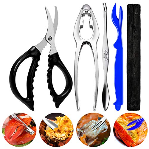 Crab Crackers Stainless Steel Lobster Crackers and Picks Set Forks Nut Cracker Set Opener Shellfish Lobster Crab Leg Crackers