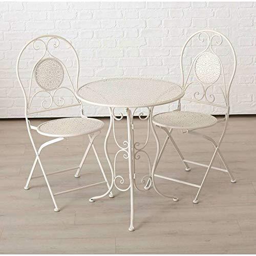 L'Héritier Du Temps Salon de Jardin Salon de Thé 2 Places Personnes Table Bistrot et 2 Chaises Pliantes en Fer Blanc
