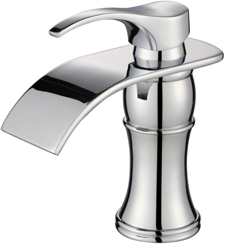 BEANDENG Moderner Badezimmer-Hahn, Hahn-Chrom-Wanne, Wasserfall-Hahn-Bassin-Hahn-heier und kalter Hahn