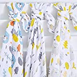 Baby Swaddle Receiving Blankets Muslin Wrap Woodland with Headband & Beanie 3 Pack– Unisex Gender Neutral Design - Soft 100% Cotton Fabric for Newborn Boys & Girls -Baby Registry Gift- 120cmx120cm
