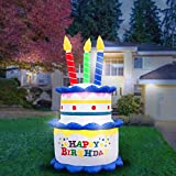 Holidayana 8-Foot Inflatable Birthday Cake with Candles Party Decoration, Includes Built-in Bulbs, Tie-Down Points, and Powerful Built-in Fan