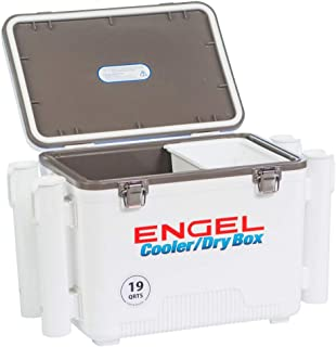 ENGEL Cooler/Dry Box with 4 Rod Holders - 19 Qt - White