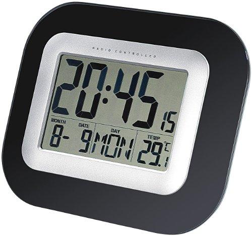 infactory Tisch Funkuhr Digital: Wand- & Tisch-Funkuhr mit Weckfunktion, Temperatur- und Datums-Anzeige (Funkuhr mit Temperaturanzeige)