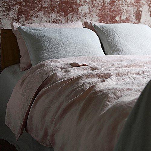 LinenMe 140 x 200 cm 100% Linen Stone Washed Bed Duvet, Rosa