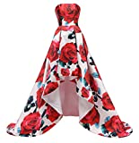 FTBY Floral Print Prom Dress Women Vintage Long Evening Dress Satin Formal Party Gown Hi-Lo Red Floral A-4