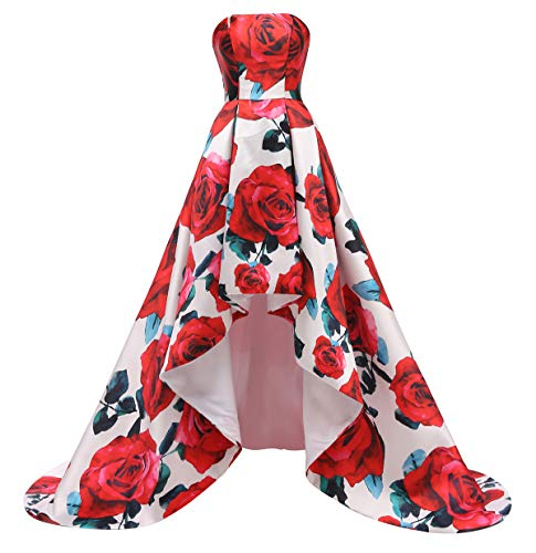 FTBY Floral Print Prom Dress Women Vintage Long Evening Dress Satin Formal Party Gown Hi-Lo Red Floral A-14 (Apparel)