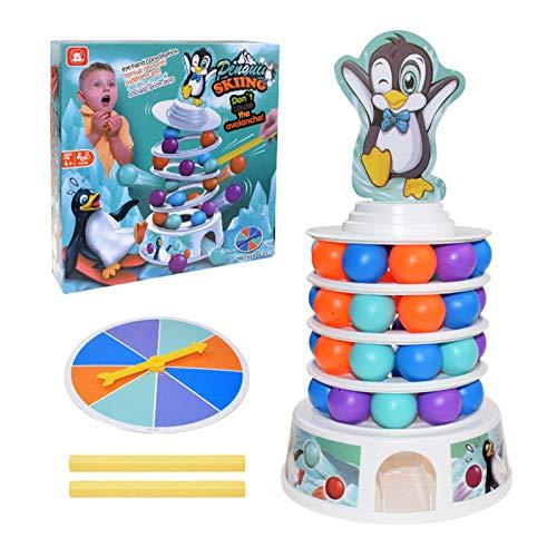 Xianghaoshun Creative Penguin Skiing Tower - Juguetes Apilables, Montessori Early Development Family Fun Juego De Mesa, Balance Suspend Family Games For Educational Fine Motor Skills Toys