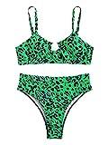 SheIn Women's 2 Pieces Leopard Print Strap Cutout Bra Bottom Bikini Swimwear Set Small Green