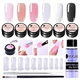 UR SUGAR 15ml Kit Uñas Acrilicas Poligel Uñas Kit Completo Poly Extension Gel Constructor -Brush+Picker, Dual Form, Slip Solution 6 Cajas Uñas Kit Pro Uñas de Gel
