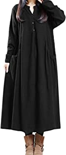 Aniywn Women's Cotton and Linen A-Line Long Dress Spring Autumn Plus Size Long Sleeve Vintage Pleated Dress
