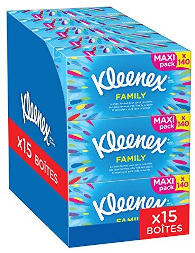 Kleenex Family Boxen-Kosmetiktücher, Für den täglichen Gebrauch, 2-lagig, 15 Boxen á 140 Tücher