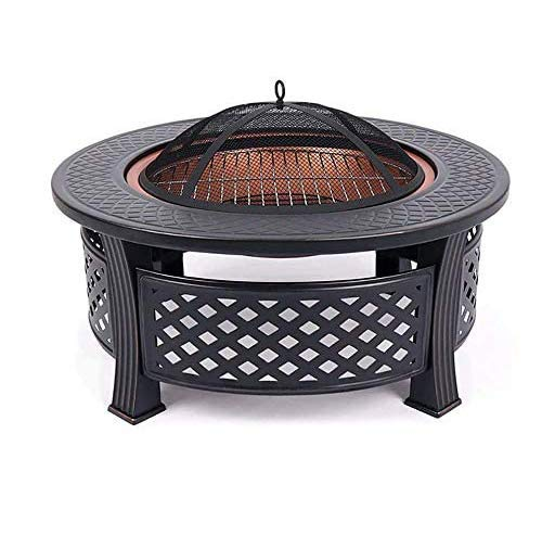 YUHT Round Fire Pit, 3 in 1 BBQ Ice Pit Patio Heater Stove Metal Outdoor Garden Firepit for Garden Patio, Outdoor Metal Brazier Firepit Heater/BBQ/Ice Pit Fire Pit table