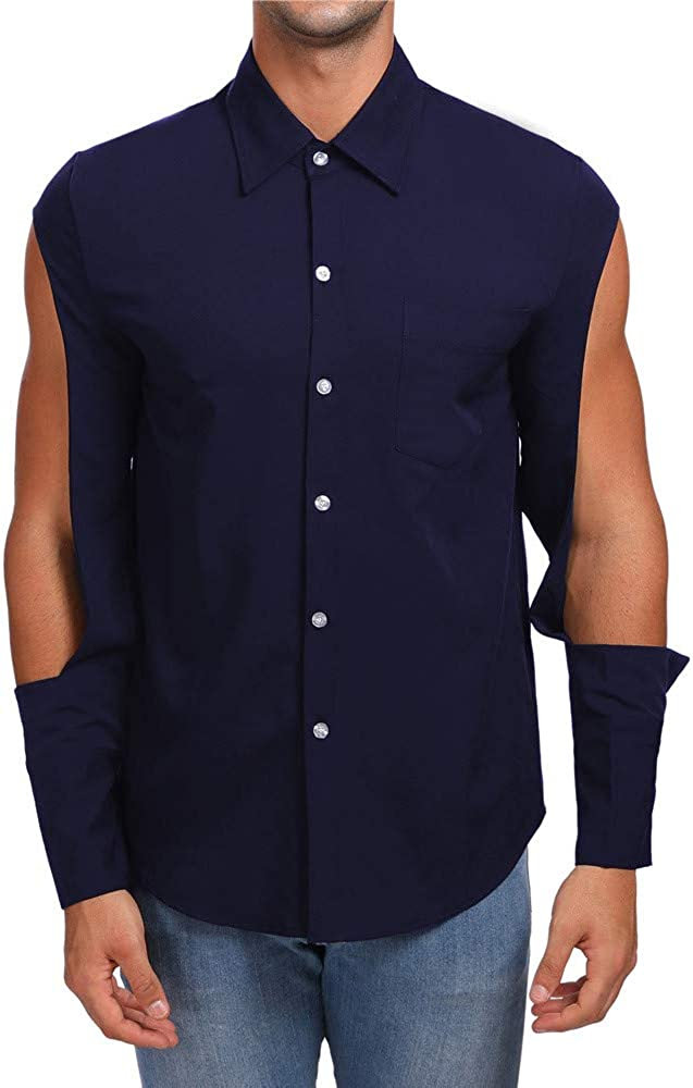 MODOQO Men's Long Sleeve Button Down Casual Regular Fit Personality Shirt