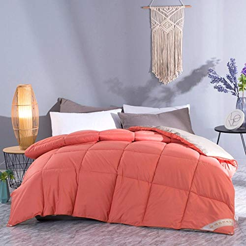 Duvets King Size 4.5 White Goose Feather and Down Duvet 100% Cotton Shell Four-Season Goose Down-Classic -Anti-allergy-Cooling-Duvet Quilt-Orange Gray_150x200cm-4000g