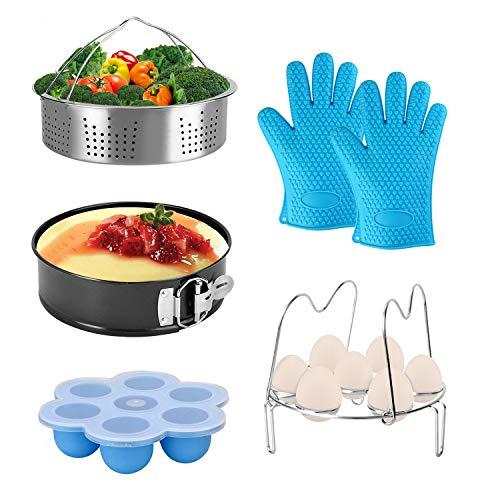 Pressure Cooker Accessories fit 8qt 6qt Instant Pot Upgrade Egg Rack with Handle, Egg Bites Mold with Lid, Vegetable Steamer...