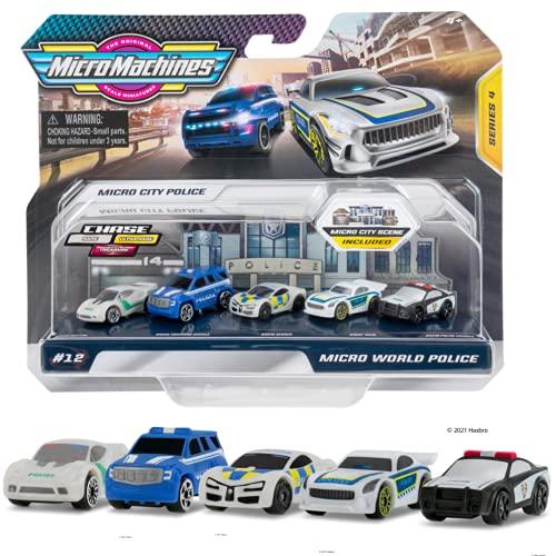Micro Machines Starter Pack Series 4, Micro World Police - Incluye 5 vehículos, Coches de Carreras y Coches de policía - Posibilidad de Algo Raro - Micromachines Toy Car Collection